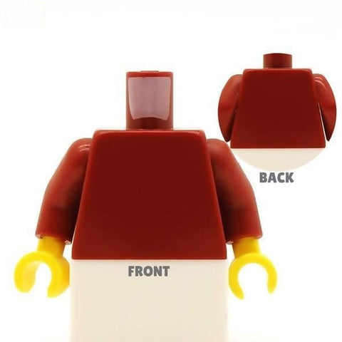 Casual Leather Jacket (Various Colours) Over T Shirt - Custom Design Minifigure Torso