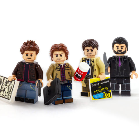 Supernatural Demon Hunters (Castiel, Dean Winchester, Sam Winchester) PLUS DEMON Crowley - Custom Design LEGO Minifigure Set
