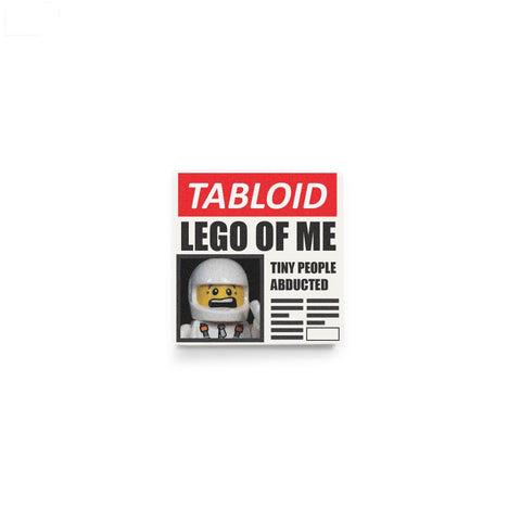 LEGO tabloid newspaper, minifigure accessory, custom printed LEGO tile