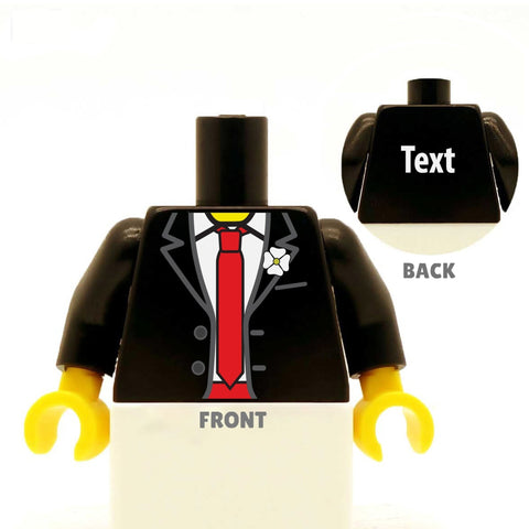Tuxedo (Various Colours) with Custom Coloured Tie and Cummerbund  - Custom Design Minifigure Torso