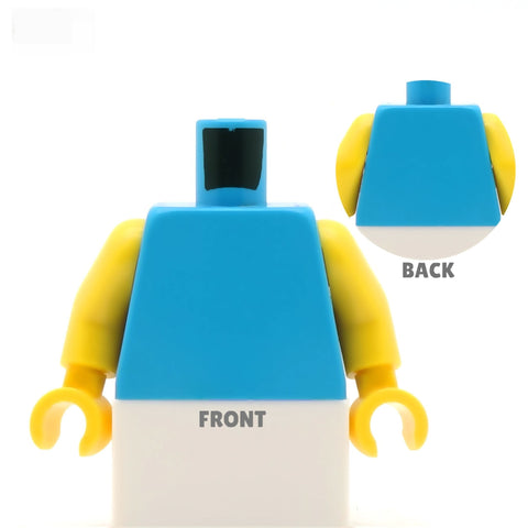 Square Neck Wedding Dress Torso (Various Colours) - Custom Design Minifigure Torso