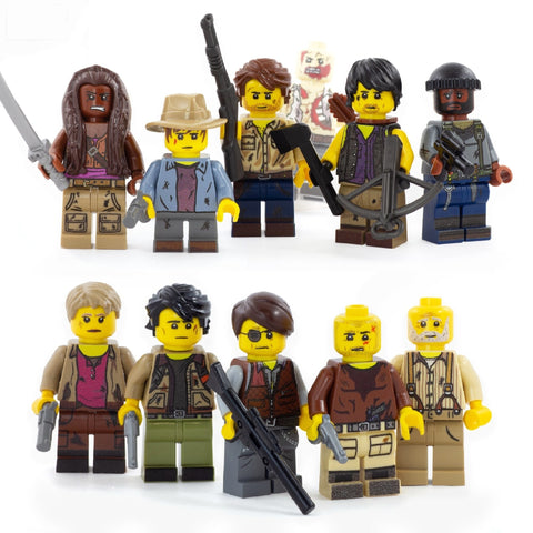 Zombie Survival Crew, Walking Dead (Complete Collector's Set) -Custom LEGO Minifigures