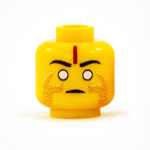 Male Warlock LEGO head - custom printed minifigure head, yellow