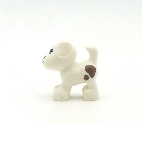 Little LEGO Dog (White with Brown Patches)