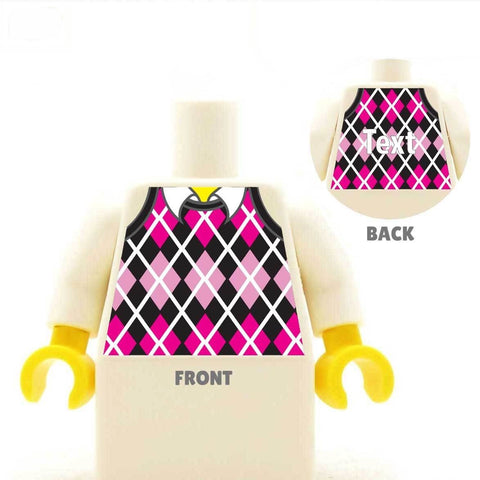 Golf Jumper - Custom Printed LEGO Torso, Knitted Diamond Shaped Pattern