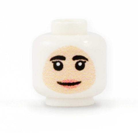 Female Face to go with Headscarf (Light Skin Tone) - Custom Printed Minifigure Head