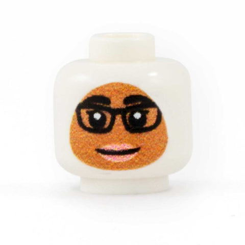 Female Face with Glasses to go with Headscarf (Medium Skin Tone) - Custom Printed Minifigure Head