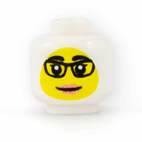 Female Face with Glasses to go with Headscarf (Yellow Skin Tone) - Custom Printed Minifigure Head