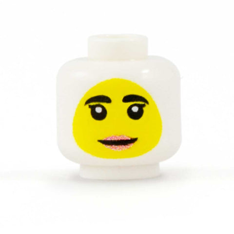 Female Face to go with Headscarf (Yellow Skin Tone) - Custom Printed Minifigure Head