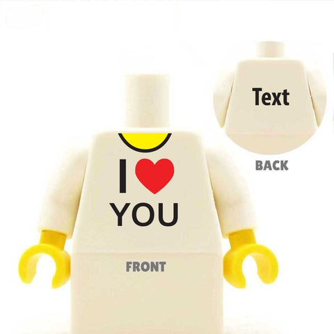 I Heart You I love you custom lego minifigure torso valentine's day gift Custom LEGO Minifig Minifigure Personalised Torso