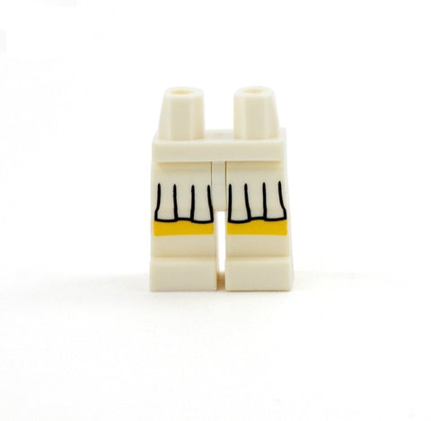White Skirt and White Shoes (Various Skin Tones) - Printed Minifigure Legs