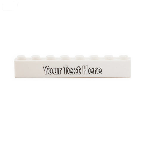 Custom Design 1 x 8 Brick (Choice of Colours) with a Name or Message - Custom Printed Brick