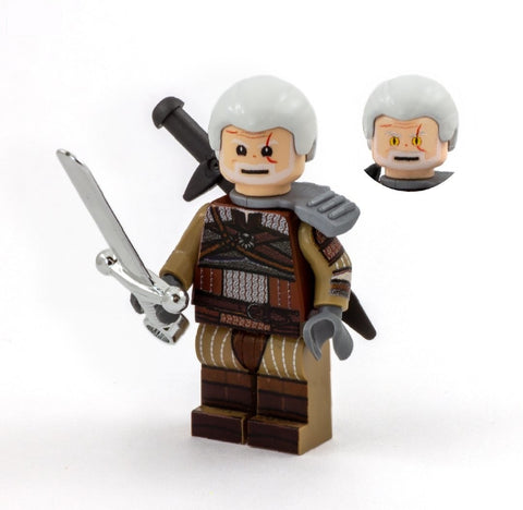Geralt of Brickia (video game version of The Witcher) - Custom Design LEGO Minifigure
