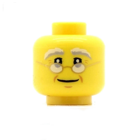 Bushy Eyebrows, Glasses and Wrinkles LEGO Minifigure Head