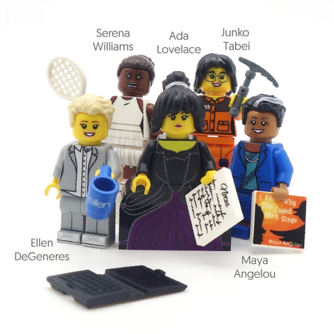Inspirational Women (IWD 2019) - Custom LEGO Minifigure Set, ada lovelace, ellen degeneres, maya angelou, junko tabei, serena williams