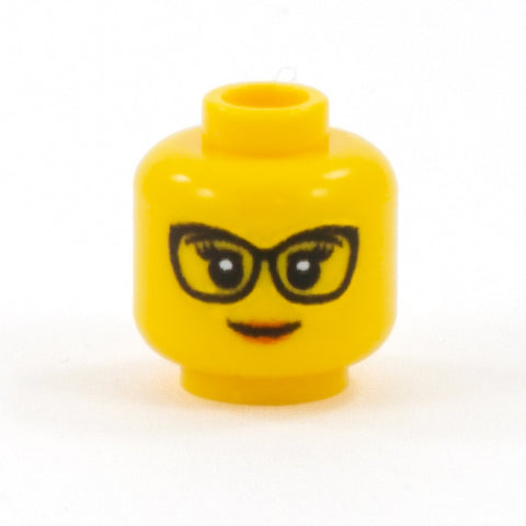 Female Head with Cat Eye Glasses (Yellow Skin Tone) - Custom Printed Minifigure Head