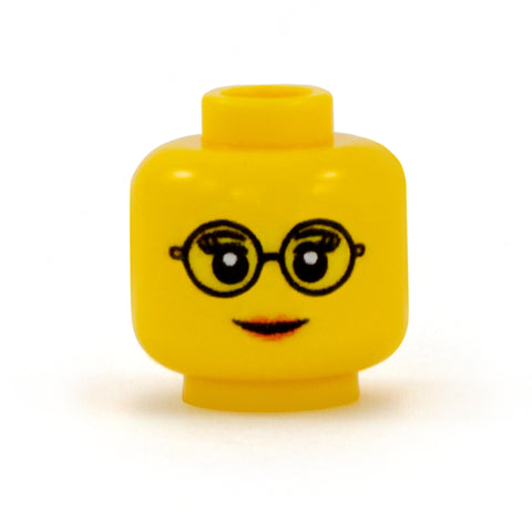 Female Head with Round Glasses - Custom Printed LEGO Minifigure Head