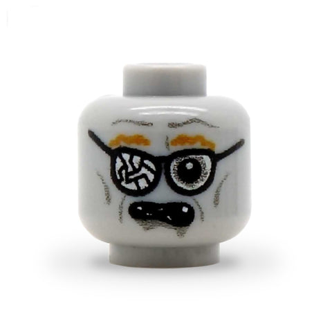 Zombie Face with Cracked Glasses - Custom Printed LEGO Minifigure Head