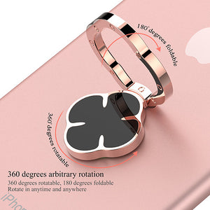 Powstro Four-leaf clover shape finger ring holder 360 degrees rotatable and 180 degrees foldable stand for smartphone