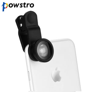 POWSTRO Universal 5 in 1 Clip on Phone Camera Optical Lens Wide Angle Lens 3X Macro Lens 198 Degree Fisheye Lens for iPhone