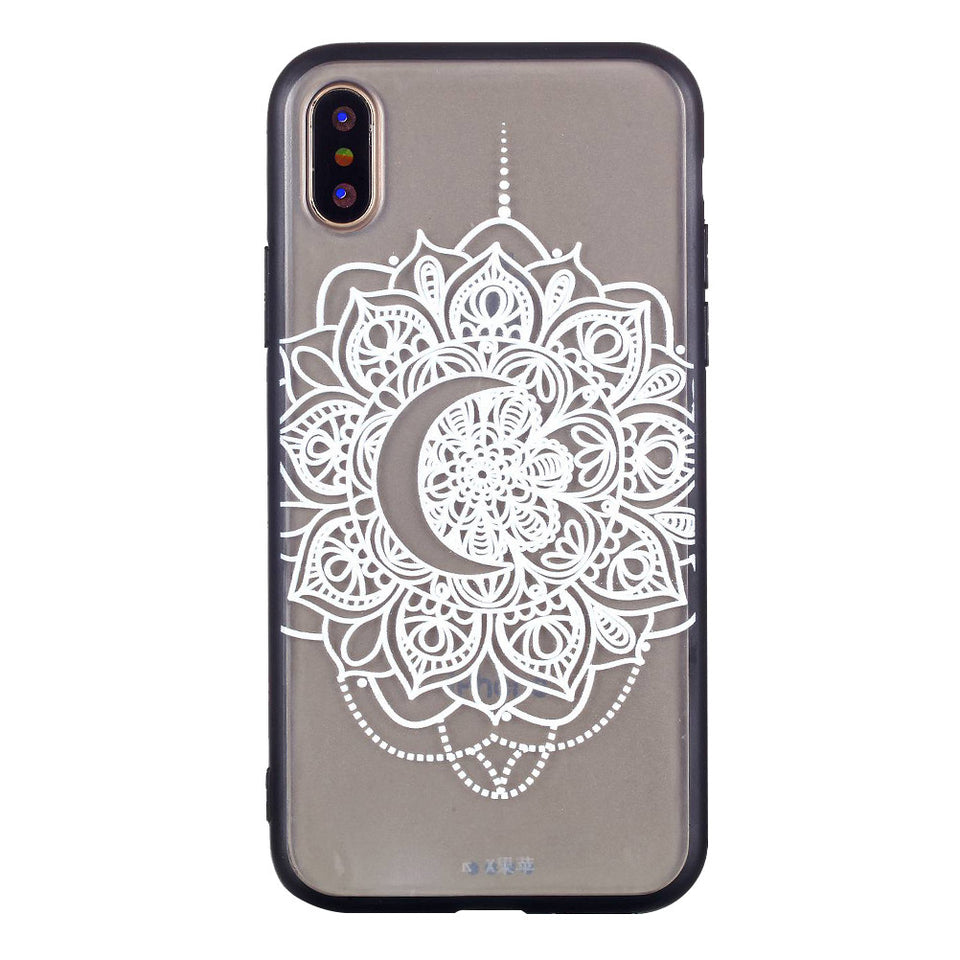 Lace Phone Case Soft TPU Bumper Case Embossment Varnish Design Scratch Resistant Phone Case for iPhone