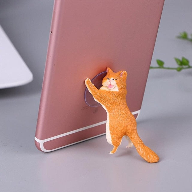 Phone Holder Cute Cat Support Resin Mobile Phone Holder Stand Sucker Tablets Desk Sucker Design high quality Smartphone Holder