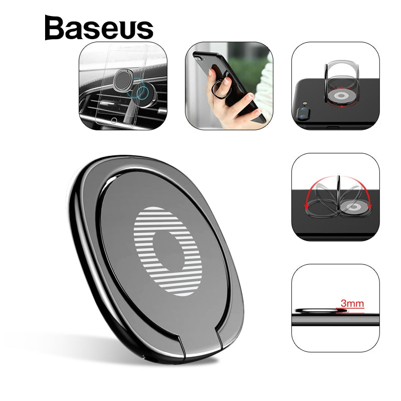 Baseus Metal Finger Ring Holder For iPhone XS 8 Samsung Phone