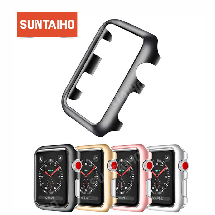 Suntaiho for iWatch series 4 3 2 PC protective frame Case cover for Apple Watch Case 38 40 44 protective Case screen protector