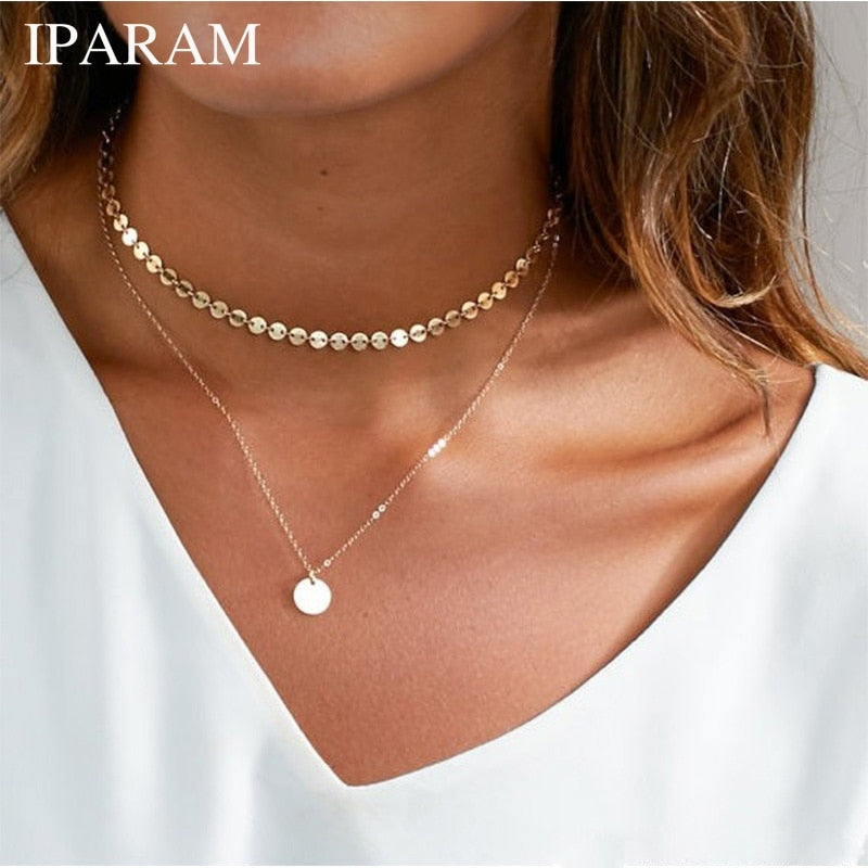 IPARAM Bohemian Golden Coin Multilayer Necklace 2019 Retro Layered Handmade Woman Choker Collar Necklace Jewelry Gift