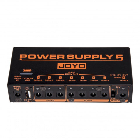 Joyo JP-05 Power Supply 5 Pedal Power Supply 8 Outputs 9v 12v 18v USB & Rechargeable