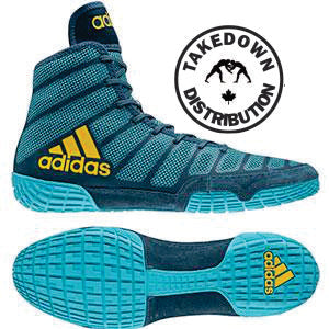 Adidas Shoe Wrestling aDiZero Varner  Aqua-Yellow-Blue - Takedown Distribution