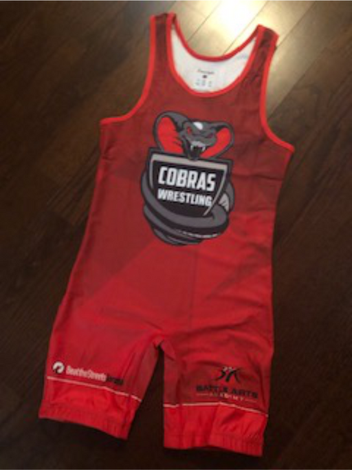 Battle Arts  WRESTLING CLUB  Red Competition Singlet