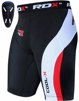 RDX Compression Shorts Knee Length with Blue CUP - CSH-MBC - Takedown Distribution