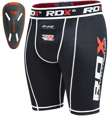 RDX Compression Shorts Knee Length with ORANGE CUP - CSX-14OC - Takedown Distribution