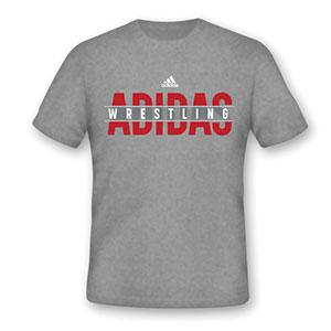 Adidas Apparel Tee Wrestling Gray-Red Cotton - Takedown Distribution