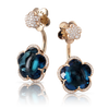 18k Rose Gold Bon Ton Earrings with London Blue Topaz and Diamonds