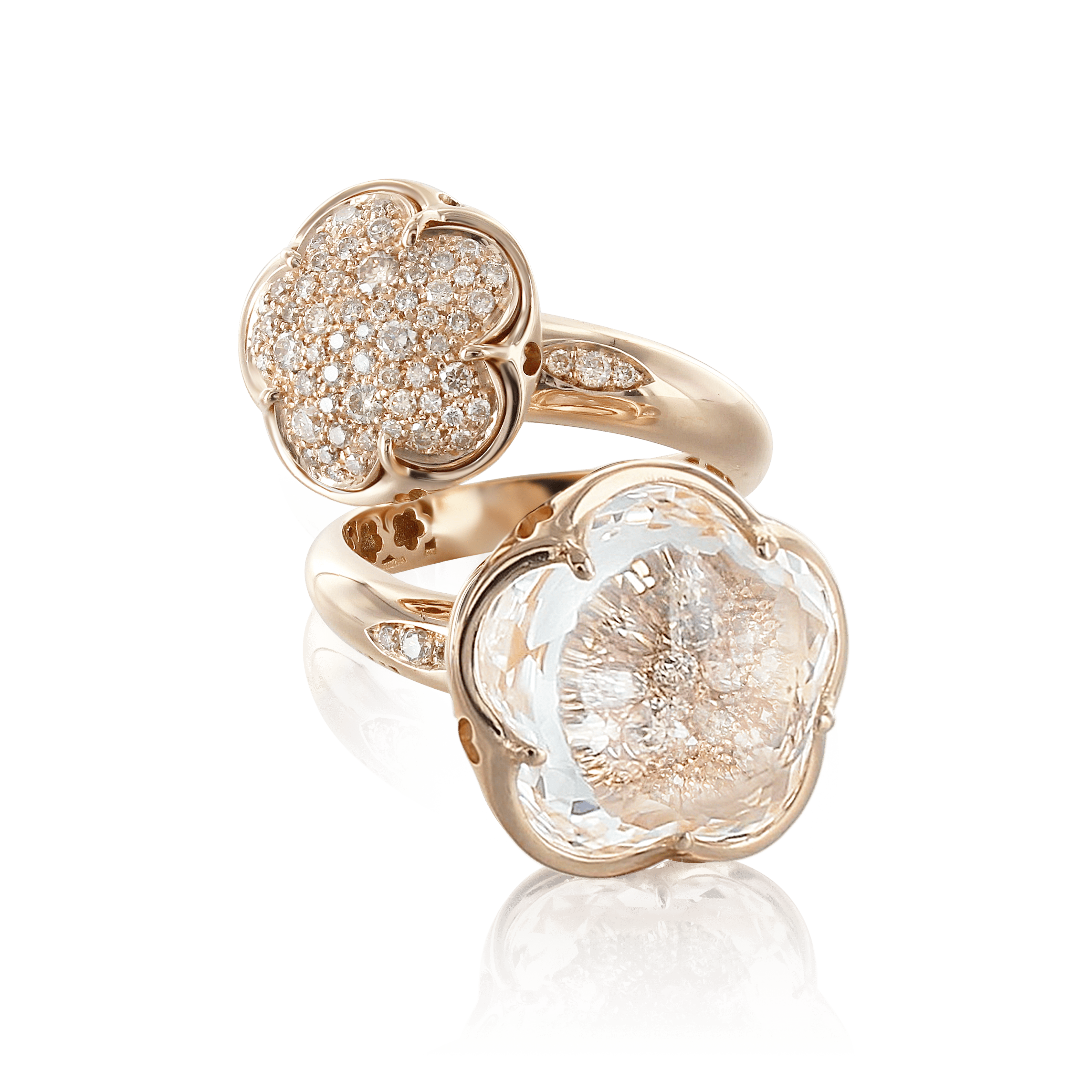 18k Rose Gold Bon Ton Ring with Rock Crystal, White and Champagne Diamonds