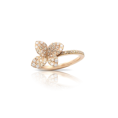 18k Rose Gold Petit Garden Ring with White and Champagne Diamonds - Small flower