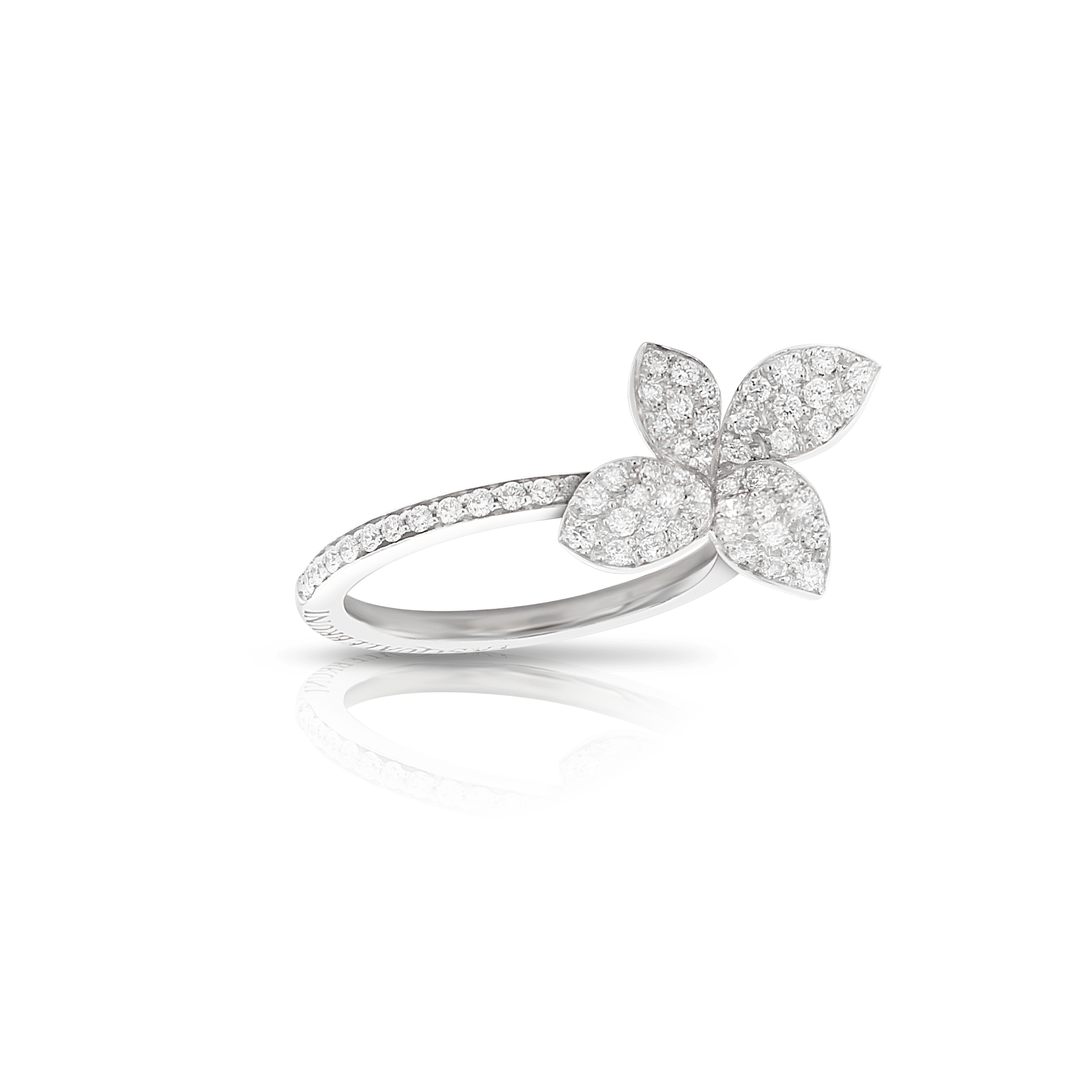18k White Gold Petit Garden Ring with Diamonds - Small Flower
