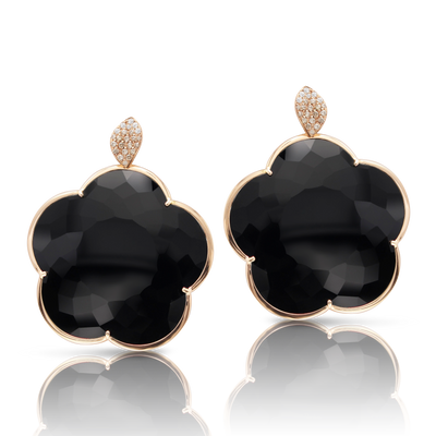 18k Rose Gold Ton Joli Earrings with Onyx, White and Champagne Diamonds