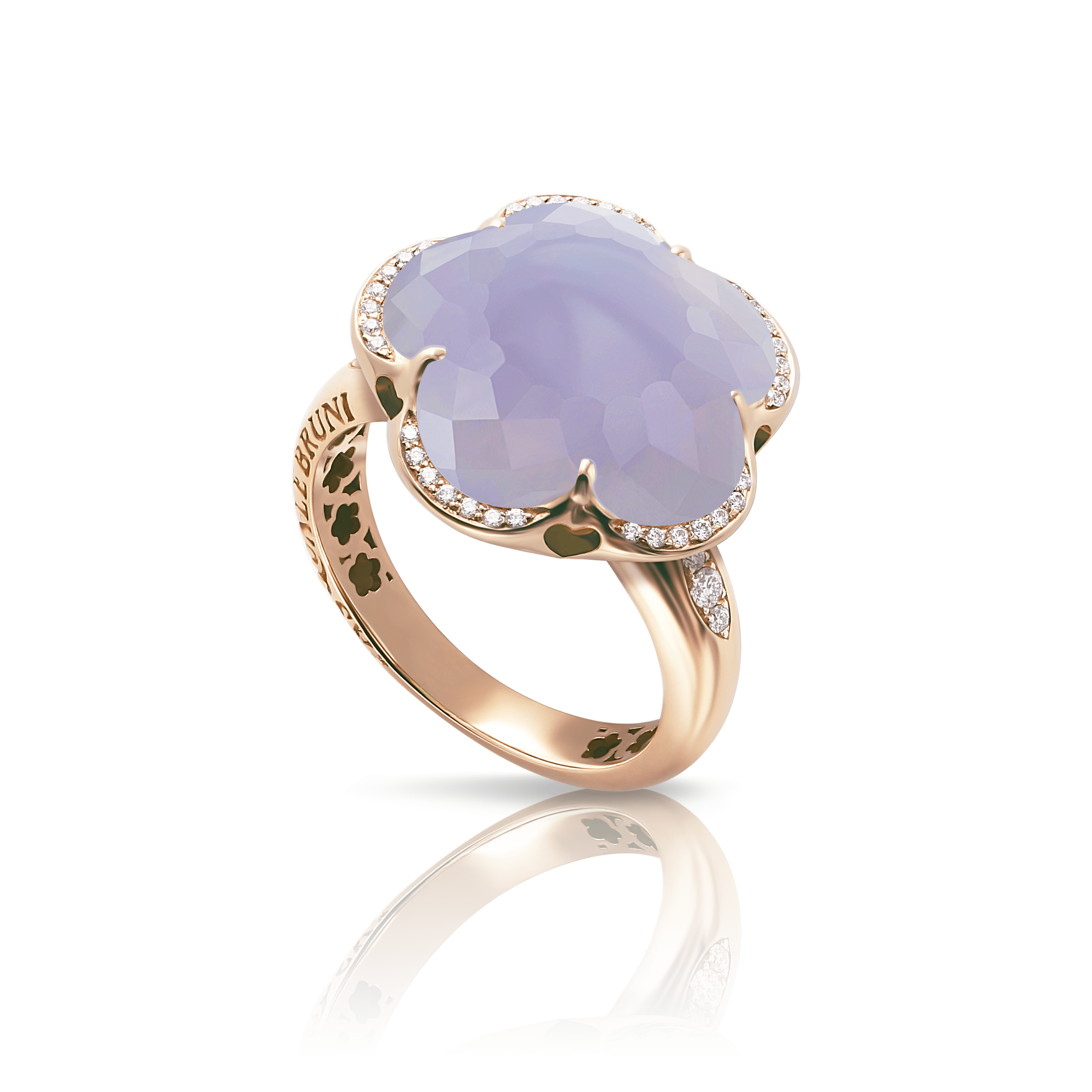 18k Rose Gold Bon Ton Ring with Blue Chalcedony and Diamonds