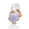 18k Rose Gold Bon Ton Ring with Blue Chalcedony, Milky Quartz and Diamonds