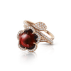 18k Rose Gold Je T'aime Ring with Red Garnet, White and Champagne Diamonds
