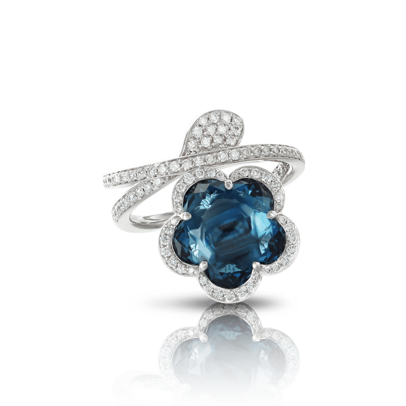18k White Gold Je T'aime Ring with London Blue Topaz and Diamonds