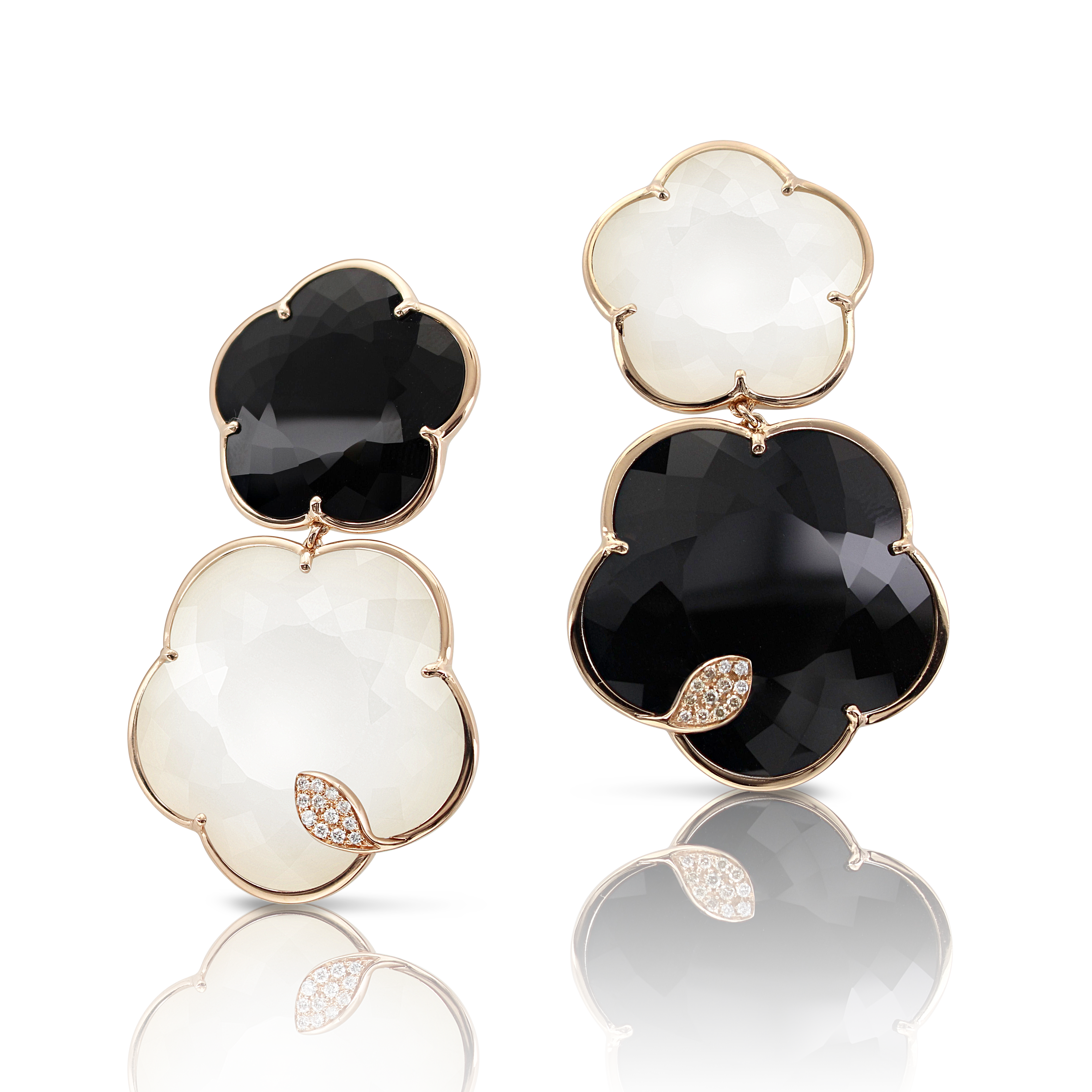 18k Rose Gold Ton Joli Earrings with White Agate, Mother of Pearl, Onyx, White and Champagne Diamonds