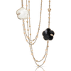 18k Rose Gold Ton Joli Necklace with White Agate, Mother of Pearl, Onyx, White and Champagne Diamonds.