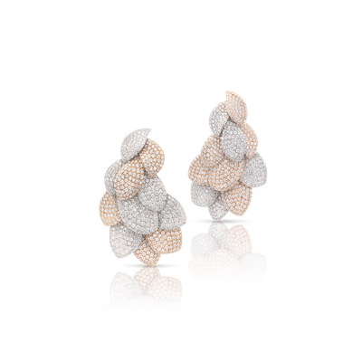 18k White and Rose Gold Giardini Vento Atelier Earrings with Diamonds