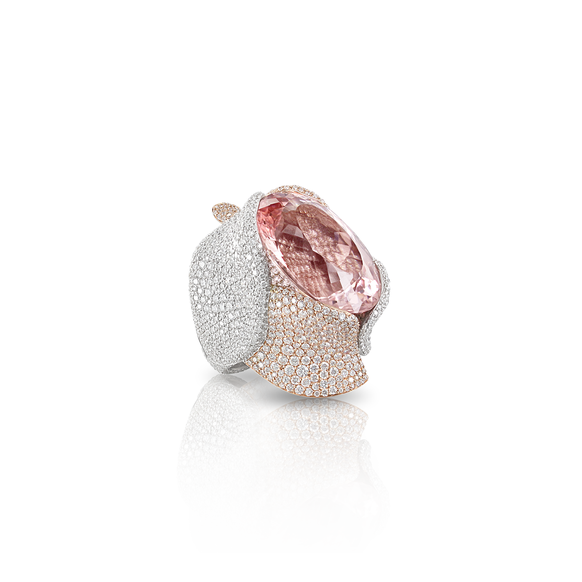 18k White and Rose Gold Giardini Vento Atelier Ring with Morganite and Diamonds