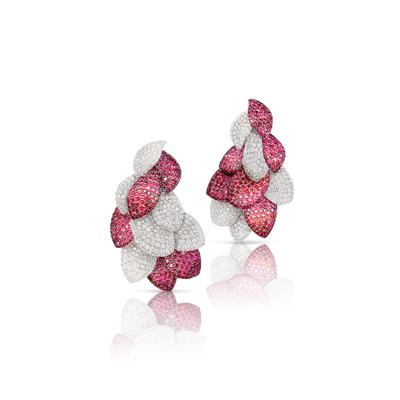 FINAL SALE - 18k White Gold Giardini Vento Atelier Earrings with Rubies and Diamonds
