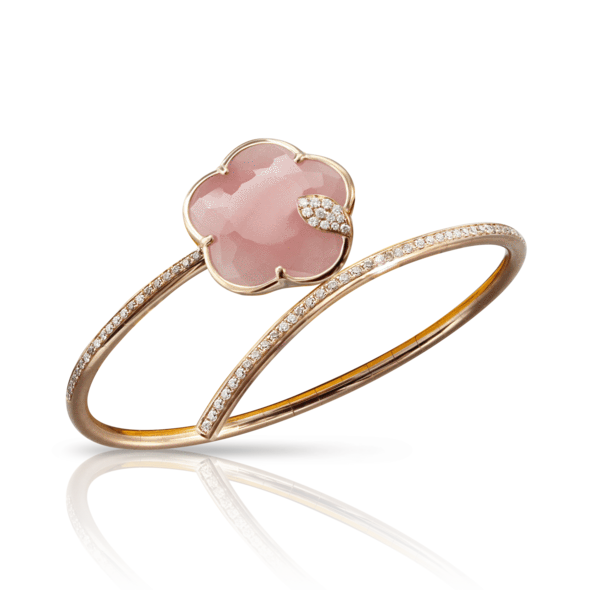 18k Rose Gold Joli Bracelet with Pink Chalcedony, White and Champagne Diamonds